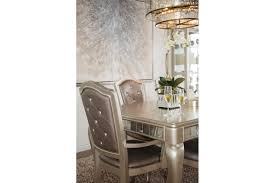 mathis brothers dining tables seven piece button tufted 63 dining set in platinum