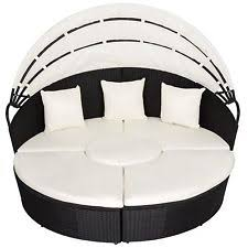 outdoor patio sofa furniture round retractable canopy daybed black
