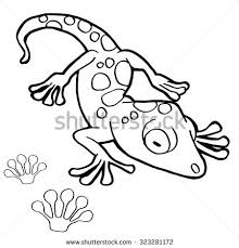 paw print gecko coloring pages vector stock vector 323281172