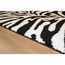 maxy home zebra shag animal print black and white area rug 5