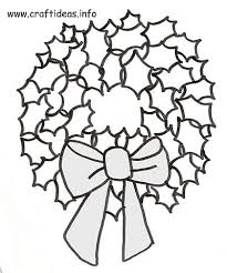 free christmas craft pattern coloring book page holly