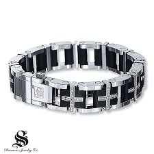 stainless steel bracelet with diamonds images Kay men 39 s diamond bracelet 1 1 2 ct tw round cut stainless steel jpg