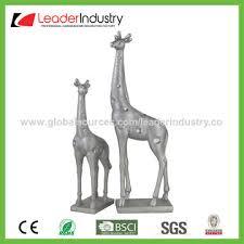 china polyresin silver giraffe sculpture home decor for table