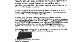 Sle Letter Of Absence Due To The Scarlets How A County Council Funded A Rugby
