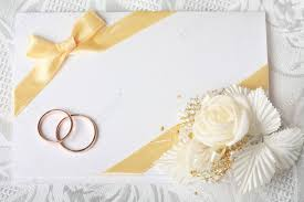 Invitation Card With Photo Wedding Invitation Card With Gold Rings And Satin Rose Stock Photo
