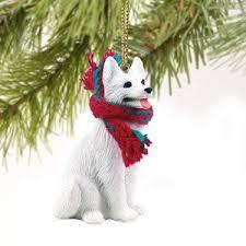 1 x german shepherd miniature ornament white