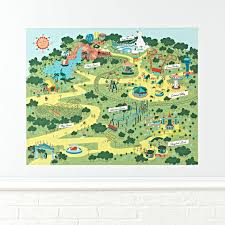 theme park map wall decal land nod