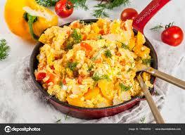 la cuisine de domi revoltillo de huevos scrambled eggs a la dominicana stock photo