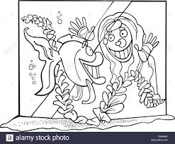 illustration fish tank coloring book stock