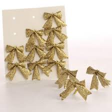 small gold glitter bow embellishments ornaments