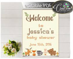 baby shower welcome sign baby shower woodland welcome sign editable with forest animals