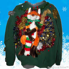 Ugly Christmas Sweater With Lights Festive Fox Hugs Furry Ferret On Ugly Christmas Sweater Lights Up