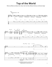 top of the world sheet music by van halen guitar tab play along