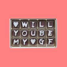 will you be my girlfriend cubic chocolate letters valentnes