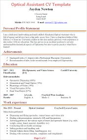 optical assistant cv template tips and download u2013 cv plaza