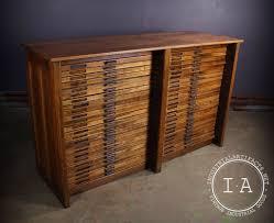 Wood Flat File Cabinet by Vintage Industrial 48 Drawer Hamilton Oak Flat File Drafting