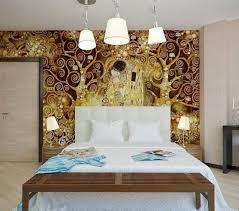 baise dans la chambre le baiser gustav klimt décoration murale romantique chambre adulte