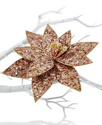 gold sequin poinsettia clip on tree ornament created