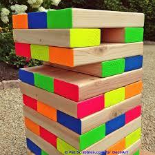 How To Make Backyard Jenga by How To Make A Colorful Outdoor Giant Jenga Game