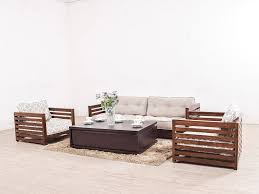 raymond five seater low wooden sofa set by urban ladder u2013 getmycouch