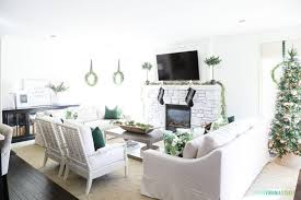 Green Color Schemes For Living Rooms Christmas Home Tour Green And White Living Room And Dining Room
