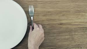 plate table top white plate and fork on old wooden table top view stock footage
