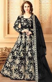 buy alluring black raw silk full length anarkali dress having full