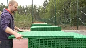 Backyard Tennis Court Cost Bergo Tennis Court Installation Instruction Youtube