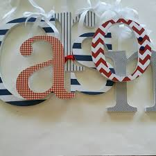 Letters For Baby Nursery Baby Boy Nursery Wall Letters Wood Letter Decor Red Navy