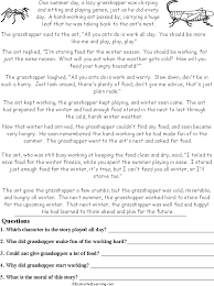the ant and the grasshopper read and answer worksheet