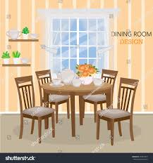 dining room window dining room big window vase roses stock vector 479824810
