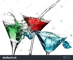 cocktail splash green red nd blue cocktails splash stock photo 124207234