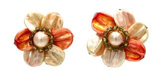 earrings hong kong vintage orange pearl petaled flower earrings hong kong