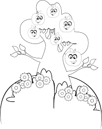 clipart anthropomorphic apple tree line art