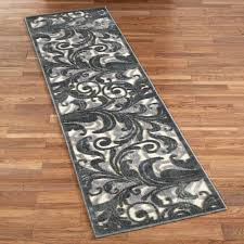 Corner Runner Rug Tantalizing Graphic Scroll Ivory Dark Gray Rug Runner