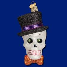 top hat skeleton skull gothic glass ornament old world christmas