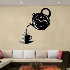 diy modern teapot cup acrylic large black wall clock home diy modern teapot cup acrylic large black wall clock home kitchen dining room deco