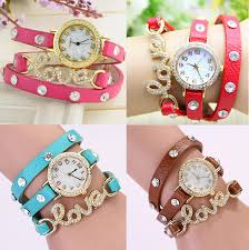ladies watches bracelet style images Love charm leather bracelet watch for women online offers jpg