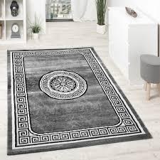 designer teppich designer teppich mit glitzergarn klassische ornamente bordüre grau