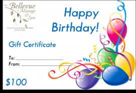 birthday gift certificate bellevue and spa