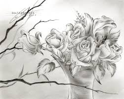 Pencil Sketch Of Flower Vase How To Draw A Vase Of Flowers Dragoart Archives Pencil Drawing