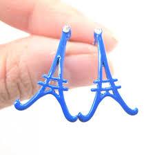 large eiffel tower outline stud earrings in blue enamel on luulla