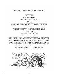 Saint Thanksgiving Parish Thanksgiving Liturgy November 23 St Gregory The Great