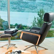 space 55 recliner chair leather seating on swivel metal star