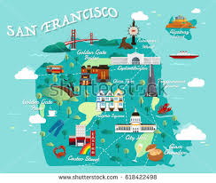 san francisco map map san francisco attractions vector illustration stock vector