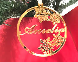 personalized christmas acrylic gold mirror bauble christmas name