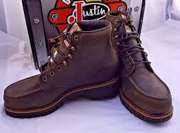 justin rugged chocolate gaucho steel toe work boot men sz 10 ee