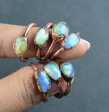 copper electroforming opal faceted gemstone copper electroformed ring at rs