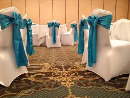 Blue Chair Covers White Spandex Chair Covers With Malibu Blue Satin Chair Sashes Www