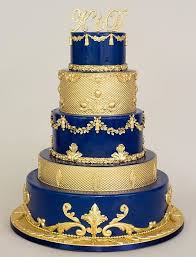 wedding cake royal blue blue and gold let them eat cake gold cake and